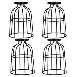 4 Pack Industrial Vintage Bulb Guard Cage Lamp Shade, Vintage Style Metal Lamp Guard Wire Cage, Hanging Pendant Metal Wire Cage, Open Style Industrial Grade Adjustable, Upgrade Black