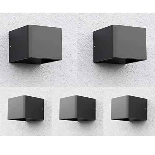 5 lámparas LED de pared para exteriores, color negro, foco de pared IP44, 7 W, para baño y cocina