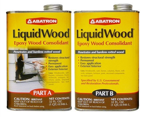 Abatron LiquidWood 2 Quart Kit, Two Part Structural Epoxy Wood Hardener and Consolidant Resin.