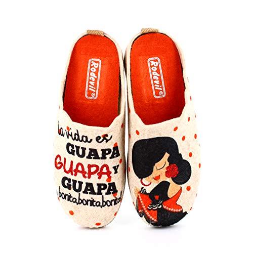 Zapatillas Fieltro Estar por casa cómodas Mujer. Sevillana, Frase Bonita (Numeric_39)