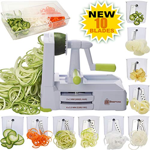 Brieftons 10Blade Spiralizer: StrongestandHeaviest Vegetable Spiral Slicer Best Veggie Pasta Spaghetti Maker for Low Carb/Paleo/GlutenFree With Blade Caddy Container Lid amp 4 Recipe Ebooks