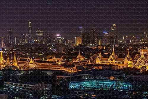 Rompecabezas para Adultos Tailandia Grand Palace Bangkok Puzzle 1000 Piezas Recuerdo de Viaje de Madera