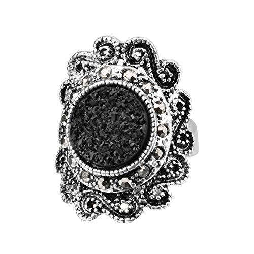 EzzySo Anillo de Turquesa Negro Tallado, Americana Personalidad Hueca de la joyería de Anillo de aleación Retro (2 Piezas),8