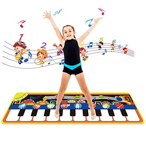 MILYFER Baby Piano Mats, Musical Mats with 8 Musical Instruments Sounds, Toys for Toddlers Baby Dance Playmat Touch Play Mat Early Education , Keyboard Mats with Play, Record,Playback and Demo Modes