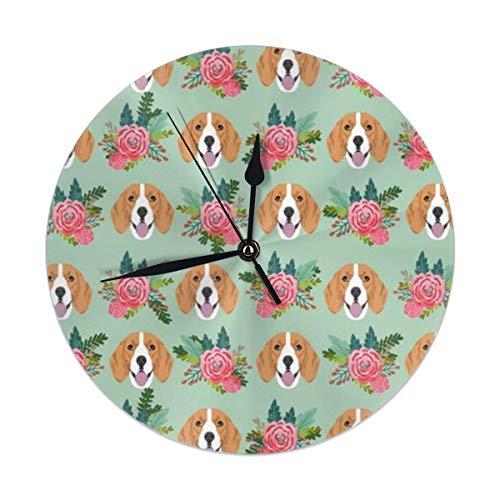 Mesllings Beagle Florals - Reloj de pared redondo de tela con diseño de perros y flores, funciona con pilas de 22 cm, analógico, silencioso para el hogar, la oficina, la escuela