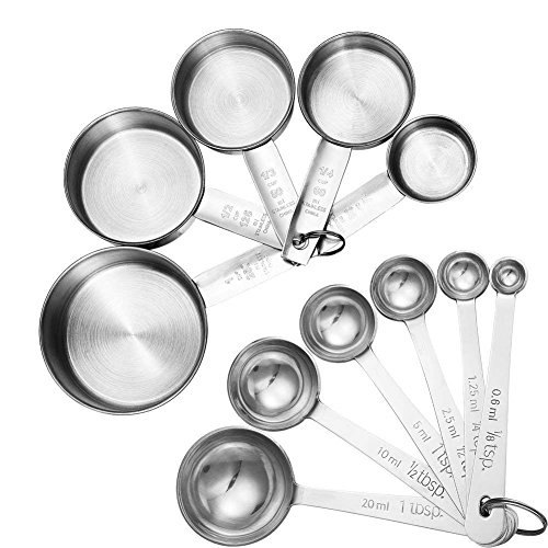 Accmor 11 Piece Stainless Steel Measuring Spoons Cups Set, Premium Stackable Tablespoons Measuring Set for Gift Dry Liquid Ingredients Cooking...