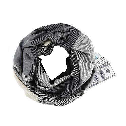 Songqiang Écharpe à carreaux Infinity Wrap caché à glissière sac chaud Wrap femmes avec mystère caché à glissière sac Infinity Voyage foulard femme Homme-Dark Grey_26 * 49cm