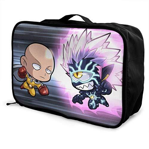 Chibi Saitama Vs Chibi Boros ONE Punch Man Travel Lage Duffel Bag for Women Men Kids, Waterproof Large Backpack Capacity Lightweight Suitcase Portable Bags
