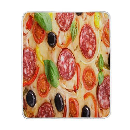 Use7 Home Decor Pizza Delicious Decke weiche warme Decken für Bett Couch Sofa Leichtes Reisen Camping 127 cm x 152,4 cm Überwurfgröße für Kinder Jungen Damen