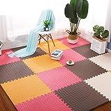 E.enjoy-Suelos de gimnasio Espuma Puzzle niños piso alfombra de juego con las formas y los colores de suelo de protección, espuma suave que entrelaza la estera del juego rompecabezas, cada pieza 60cmx