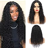 10A Deep Wave Silk Base Fake Scalp Human Hair Lace Closure Wigs Deep Curly Wig Brazilian Virgin Hair PU Silk Top Lace Wigs Middle Part Wear and Go Wig for Women 150% Density 24Inch