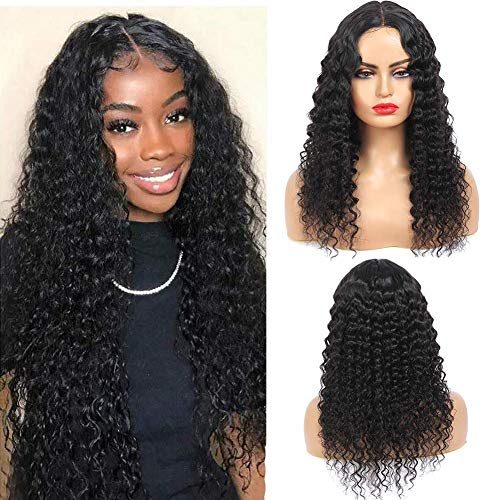 Brazilian Deep Wave Silk Base Fake Scalp Middle Part Lace Closure Wigs for Women 10A Virgin Brazilian Remy Human Hair Deep Curly Wigs T Part Pre Plucked 150% Density Natural Color 18Inch