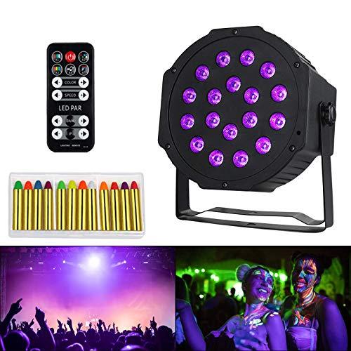 Anpro Lampe Lumière Noire UV 18LEDs Lumière de Scène 12PCS C