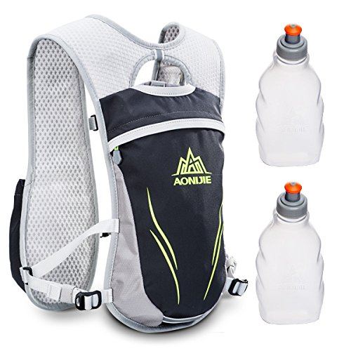 Geila Hydration Pack Backpack, Outdoors Sport Trail Marathoner Running Race Lightweight Hydration Vest with 2 Water Bottles (Gray)