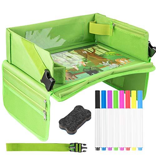 EXTSUD Kinder Reisetisch Kindersitz Spiel und Knietablett Reisetisch mit 1 Transparenter Zeichnungsfilm+4 Zeichenpapier+8 Farbstifte,Multifunktional Einstellbar Reisetablett Tragbar Esstisch Autositz