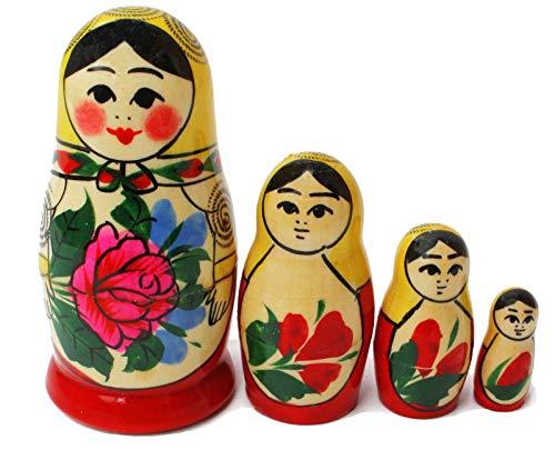 Semenovskaya Rospis original russische Matroschka Puppen Babuschka Matrjoschka Holzpuppen klassisch (4 Puppen 9 cm gelbes Tuch)
