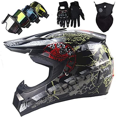 Casco Moto Cara Completa, Casco Moto MotocrossNiñOs & Adultos con Gafas/Guantes/MáScara para MTB BMX ATV Quad Dirt Bike Outdoor Cross Country Race Sport DH Casco - Negro Brillante