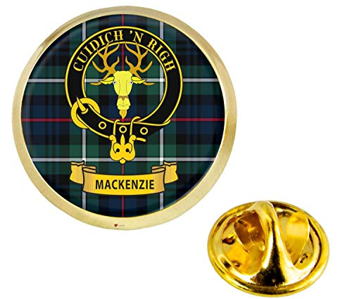 Mackenzie Scottish Clan Crest Lapel Pin Badge in Gold Colour Product Of Scotland