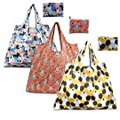 Reusable Shopping Bags Pack of 3 Set,Eco Friendly Reusable Large Grocery Shopper Tote Bags for Shopping Organizing (Dog Cat Owl 1)