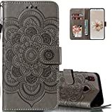 LEECOCO Huawei Honor 8X Case Mandala Embossing Luxury PU Leather Flip Notebook Wallet Bookstyle Magnetic Stand Card Slot Folio Bumper Protection Cover for Huawei Honor 8X Mandala Gray LD
