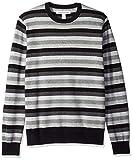 Amazon Essentials Men's Crewneck Stripe Sweater, Black/Multi Stripe, Large