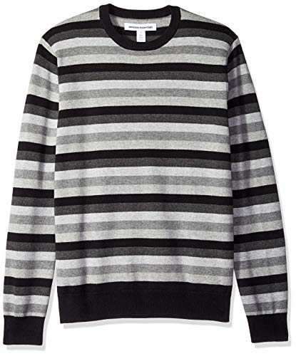 Amazon Essentials Men's Crewneck Stripe Sweater, Black/Multi Stripe, Medium