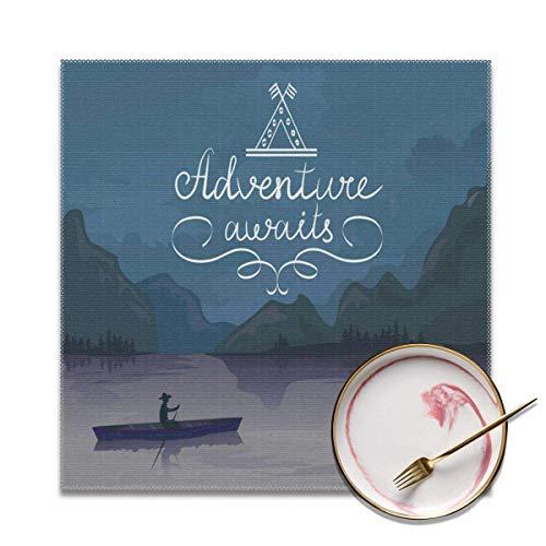 Strawberryran Aventura Espera Kayak en un Lago de montaña en la Noche Actividad de Campamento Estilo de Vida Púrpura Gris Azulado 12 X 18 en Juego de 4