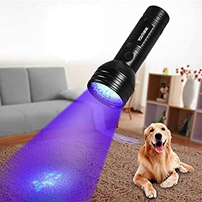 Pet Urine Detector Light Handheld UV Black Light Flashlight Portable Dog Cat Urine Carpet Detector Super Bright 51 LED UV Light for Pet Stain, Minerals, Automotive Leak Detection or Scorpion Hunting 1