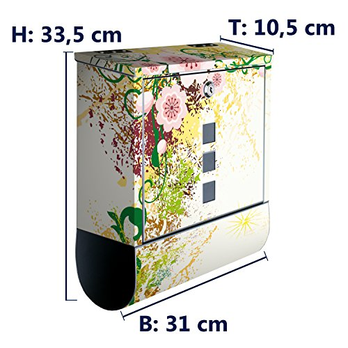 wandmotiv24 Briefkasten Edelstahl Zeitungsrolle Motiv Luca – Design Mailbox Modern, Zeitungsfach, Designbriefkasten, Postkasten, Bunt - 3