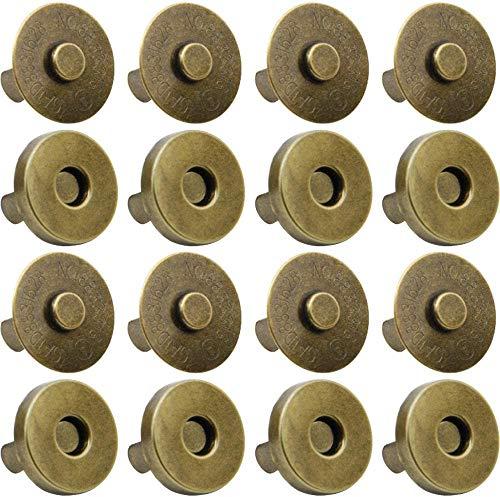 MMBOX - Juego de 100 broches magnéticos para bolso de mano, cierre magnético, cierre de botón magnético, perfecto para bolso, ropa, cuero, etc., Hematita magnética, latón envejecido, 14 mm