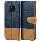BEZ Hülle für Huawei Mate 20 Pro Handyhülle, Tasche Kompatibel für Huawei Mate 20 Pro, Handytasche Schutzhülle [Stoff & PU Leder] mit Kreditkartenhalter, Blaue Marine