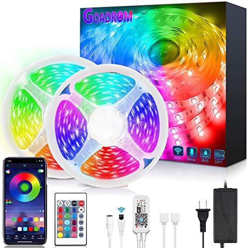LED Strip Lights,GOADROM Smart 32.8FT WiFi LED Strip Lights Works with Alexa, Brighter 5050 LED Phone App Controlled...