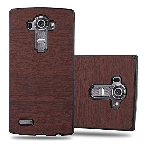 Cadorabo Hülle für LG G4 - Hülle in Woody Kaffee – Hardcase Handyhülle in Vintage Holz Optik - Schutzhülle Bumper Back Case Cover