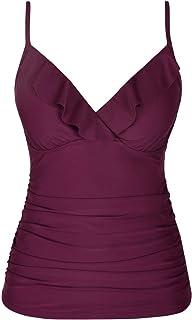 Hilor Women's Tankini Tops Shirred Ruffled Swimsuits V Neck Swimwear Top