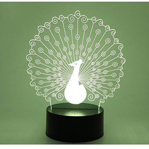 Luz De Noche Led 3D Pájaro Pavo Real Con Luz De 7 Colores Para Lámpara De Decoración Del Hogar Visualización Increíble Ilusión Óptica Impresionante 1pc