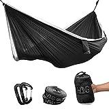 Hamaca doble Häng de seda de paracaídas 300 x 170cm Soporta hasta 200kg, en blanco y negro, incluye fijación