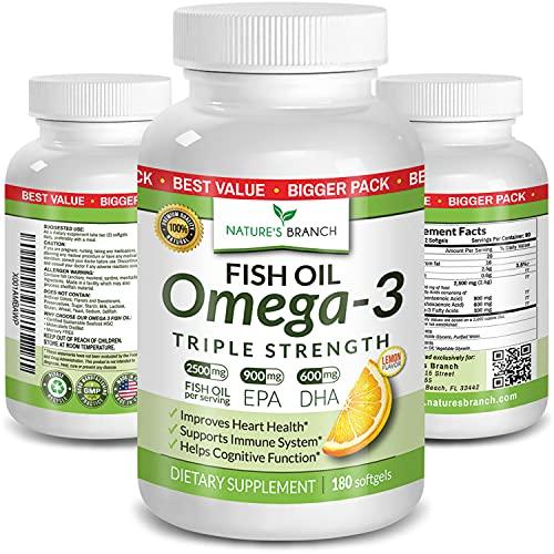 Best Triple Strength Omega 3 Fish Oil Pills - 180 Capsules - 2500mg High Potency Burpless Lemon Flavor 900mg EPA 600mg DHA Ultra Pure Liquid Softgels for Brain Joints Eyes Heart Health Supplement