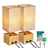 N&C Bedside Table Lamp-Set of 2 with 2 USB Charging Ports, Solid Wood Base Desk Lamp, Push Button Switch Nightstand Light with Brown Square Linen Fabric Shade for Bedroom/Living Room/Study Room