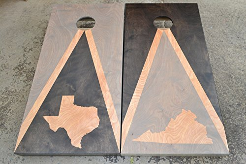 Choose Your State (Texas Virginia) Custom Stained Flag Cornhole Boards Set with Bags