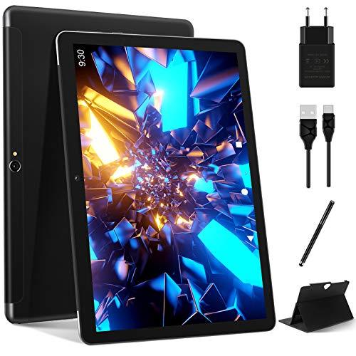 Tablet 10 Pollici Android 10.0, MEBERRY Quad-Core Doppia SIM Tablet PC 4 GB RAM + 64 GB ROM | Processore | Certificato Google GMS| | 8000mAh | WIFI | Bluetooth | GPS | Doppia Fotocamera, Nero