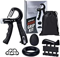 Grip Strength Training Equipment Set (5 Pieces) Adjustable Resistance 10-60kg. Smart Counting Hand Grip Enhancer, Finger Stretcher, Finger Exerciser, Grip Ring & Stress Release Grip Ball from ammazon-au