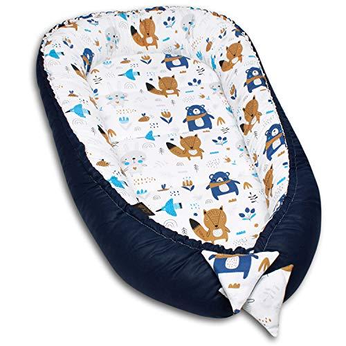 PALULLI Kuschelnest 2-seitig Babynest Babynestchen Baby Nest Nestchen Reisebett Wickelauflage Kuschelbett, Kokon Kokon für Babybett - Babys und Säuglinge, 100% Baumwolle OEKO TEX (AZTEC II)