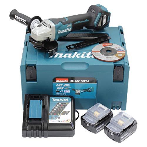 Makita DGA515RTJ Amoladora Angular (18 V, con Interruptor de Pala, 5,0 Ah, 2 baterías y Cargador en Makpac)