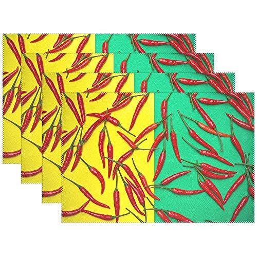 Eliuji Manteles Individuales de Chile Picante para Mesa de Comedor Juego de 6 tapetes de Mesa de Cocina de poliester Lavables Resistentes al Calor