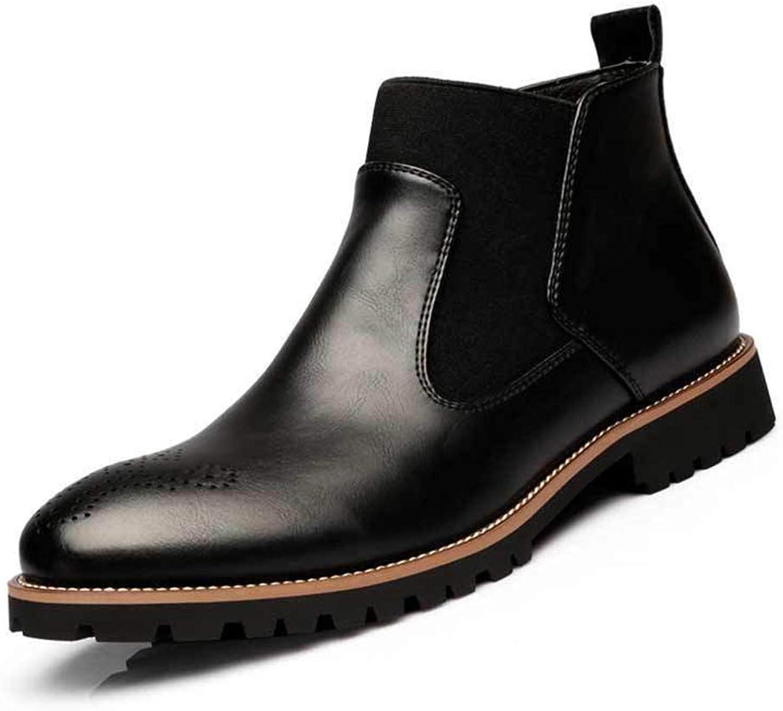 Qiusa Herren Slip auf Chelsea Stiefel Weiche Sohle Pelz gefüttert Durable Casual Slip Stiefel (Farbe   Schwarz, Größe   EU 42)  | Elegante und robuste Verpackung
