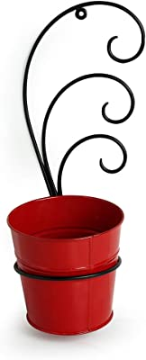 ExclusiveLane The Red Bucket Metal Wall Planters Pot for Indoor Plants with Holder (Galvanized Iron) - Wall Mounted Planters with Stand Plant Containers Balcony Decoration Garden Décor