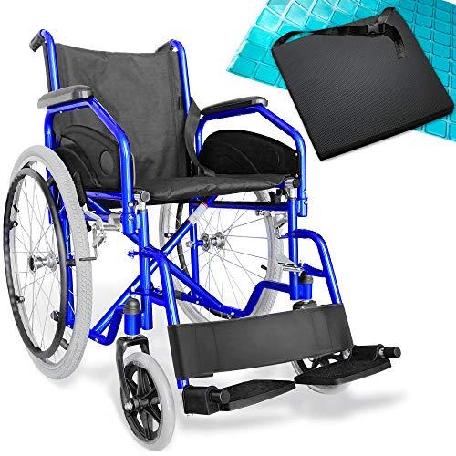AIESI Sedia a rotelle pieghevole leggera per disabili ed anziani AGILA EVOLUTION # Cuscino Antidecubito in gel # Braccioli e Poggiapiedi estraibili # Cintura di sicurezza # Garanzia Italia 24 mesi