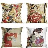 Juego de 4 fundas de almohada asiáticas japonesas geisha flor de cerezo patrones de grúa mujer decorativas fundas de almohada para decoración del hogar cuadrado 45 x 45 cm