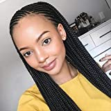 Pelucas Para Mujer, Peluca Trenzada Caliente De Tres Hilos De Moda Africana, Manga Sucia Peluca De Fibra Química De Encaje Frontal Trenzado Sucio 20 pulgadas A