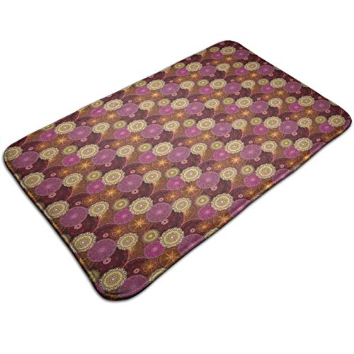 Arabesque Floral Inspiration Spinograf Style Vintage Art Design Oriental Elements 72 x 48 in, Extra Soft and Absorbent Rugs, Machine Wash Dry, Perfect Plush Carpet Mats for Tub, Shower,and Bath Room